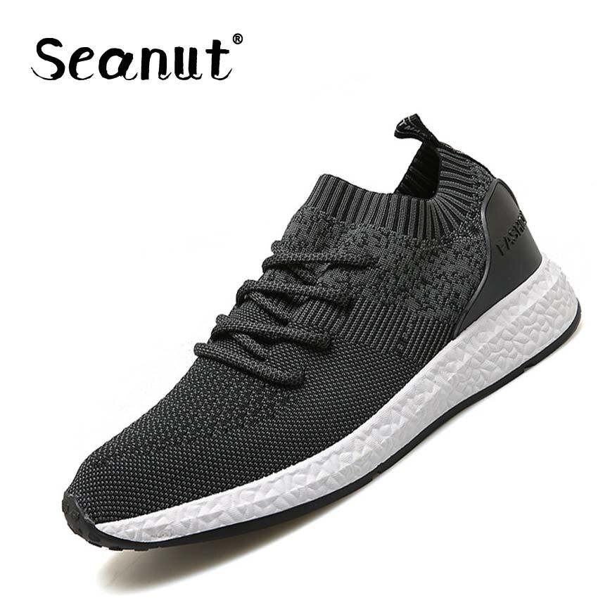 Seanut Men's Flying woven shoes breathable mesh shoes casual shoes (Black) - intl