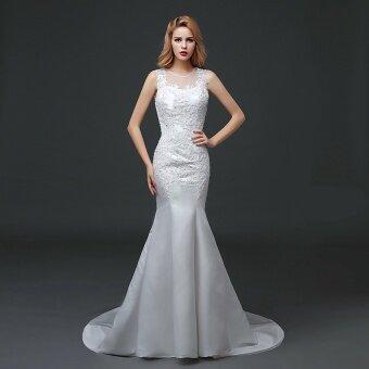 Selling More 3000 Korean Mermaid Wedding Gowns O Neck Sleeveless See Through Satin Bridal Dress (ivory) - intl