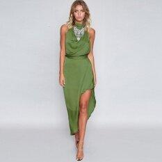 Sexy Women Maxi Dress Choker Backless Asymmetric Hem High Split Sleeveless Waist Strap Holiday Long Dress Green - intl image