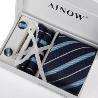 Siamcity mall เนคไท สีน้ำเงิน ลายแถบเส้น ที่หนีบเนคไท กระดุม ผ้าเช็ดหน้า necktie blue