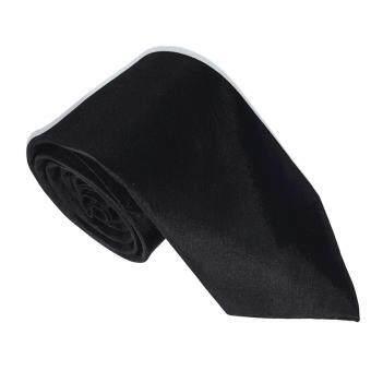 SILK TIES เนคไท ผ้าไหม100% สีพื้น (สีดำ) หน้ากว้าง 3 นิ้ว รุ่น02