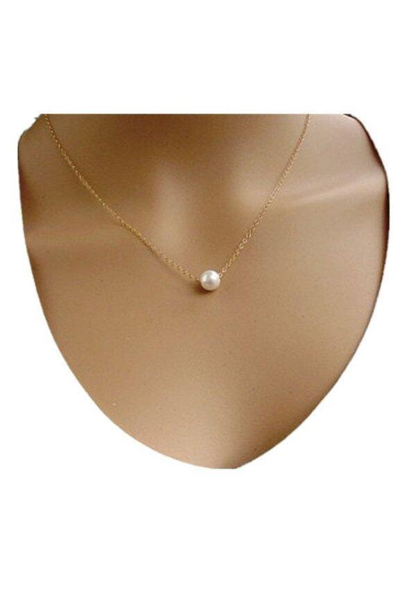aaa Simple Imitate Pearl Bib Choker Statement Collar Necklace (Gold) Sbobet
