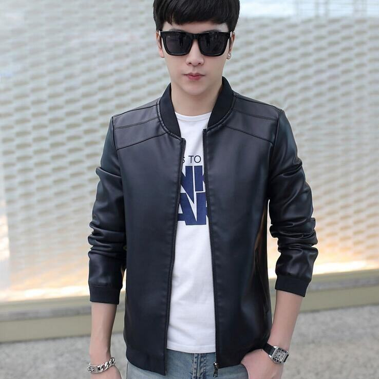 Size M-4XL Men's Bomber Coats Fashion PU Leather Jackets - Dark Blue - Intl · >>>>