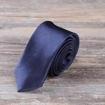 เนคไท Slim Necktie Tie Wedding Classic Jacquard Woven Solid Color Plain Skinny Silk - Deep Blue