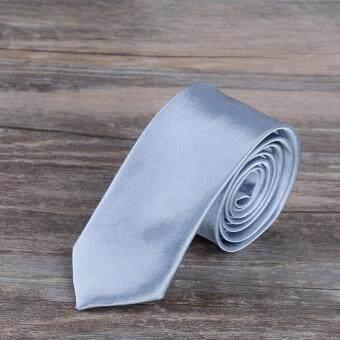 เนคไท Slim Necktie Tie Wedding Classic Jacquard Woven Solid Color Plain Skinny Silk - Gray