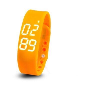 ประเทศไทย Smart watches นาฬิกาข้อมือนับแคลอรี่ นับจำนวนก้าวเดิน วัดอุณภูมิและการนอนหลับ (สีส้ม)