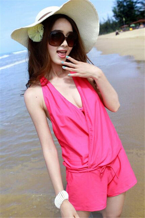 South Korea 2016 Steel Bracket Together Small Breasts Triangle Bikini Three-Piece Swimsuit Female Hot Spring Bathing Suit(Rose) - intl