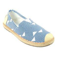 Squareladies รองเท้าส้นแบบแคนวาสลายเส้นพิน No.BX332 (สีน้ำเงิน)
