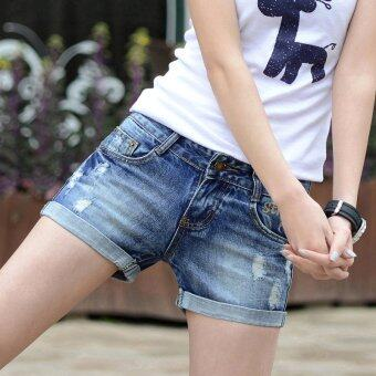 Summer Hole Han Edition Cultivate One's Morality Show Thin Women'sJeans Denim Shorts (in Blue) - Intl