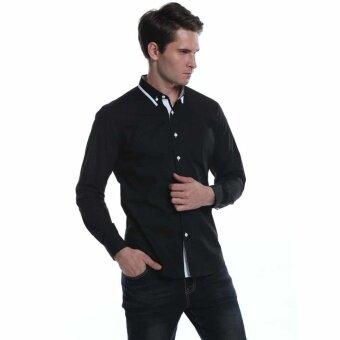 Sunweb Men Fashion Slim Fit Turn Down Collar Long Sleeve Button Down Casual Shirts(Black) - intl