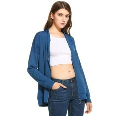 Supercart Best Women Loose V-Neck Long Sleeve Solid Zip-Up Blouse Top ( Blue ) - Intl ราคา 454 บาท(-67%)