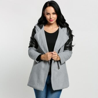 SuperCart Women Fashion Hooded Lapel Long Sleeve Faux Leather Patchwork Zip-up Outwear Trenchcoat ( Grey ) - intl
