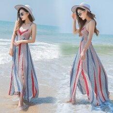 The new printed stripe backless condole chiffon dress Bohemian dress seaside holiday beach dress - intl