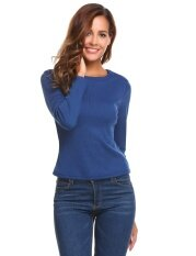 Top Sales Astar Women O-Neck Long Sleeve Zipper Slim Fit Ribbed Knitted T-Shirt Tops(dark Blue) - Intl ราคา 392 บาท(-50%)