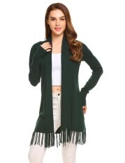 Top Sales Astar Womens Long Sleeve Open Front Solid Thin Knit Tassel Long Sweater Cardigan(green) - Intl ราคา 565 บาท(-50%)
