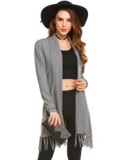 Top Sales Astar Womens Long Sleeve Open Front Solid Thin Knit Tassel Long Sweater Cardigan(grey) - Intl ราคา 565 บาท(-50%)
