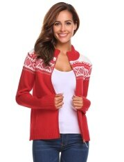 Top Sales Astar Womens Stand Collar Long Sleeve Full Zip Print Knitted Casual Sweater Cardigan(red) - Intl ราคา 548 บาท(-50%)
