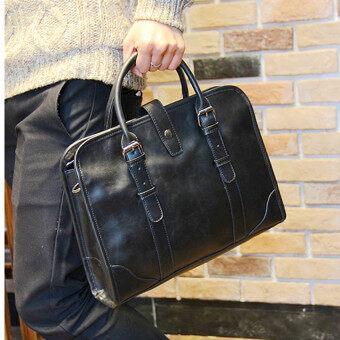 TP Leather New Men Handbag Business Tote Bag Fashion Oneshoulder Bag Briefcase Portable Bag (Black) - intl