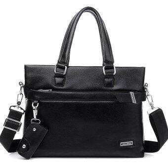 TP New Men's Business Leather Handbag Computer Bag Tote Bag (Black) - intl
