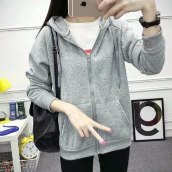 TuckyJiang เสื้อคลุมแฟชั่น มีฮูด แขนยาว บุกันหนาว ซิปหน้า สีเทา 005411