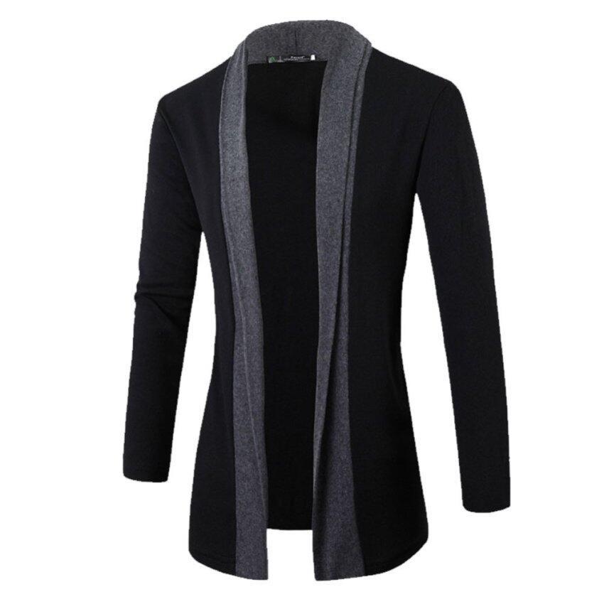 tyih Knitted Cardigan Jackset iong Caua Sweater Dark Grey ...