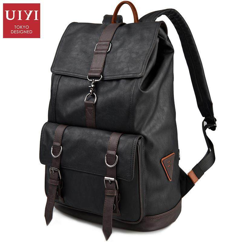 UIYI Preppy Style Men Backpack School Bags For Teenagers Leather Travel Bag Backpack Mal ...