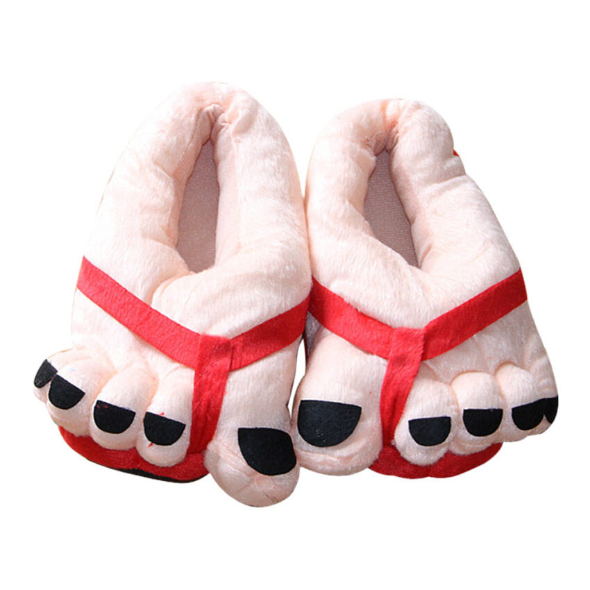 Unisex Funny Winter Toe Big Feet Warm Plush Home Slippers(Red) ...