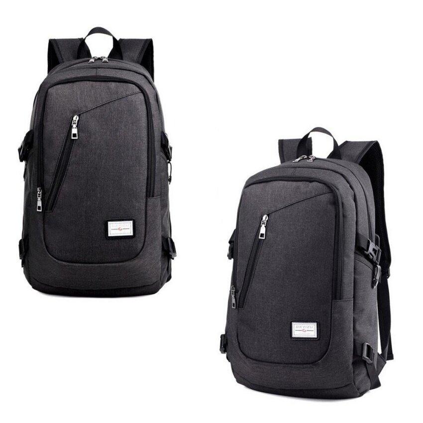 กระเป๋าเป้สะพายหลังแล็ปท็อปกระเป๋าเป้สะพายหลังกระเป๋าเดินทาง USB กระเป๋าเดินทางกระเป๋า Rucksack Anti-Theft Black