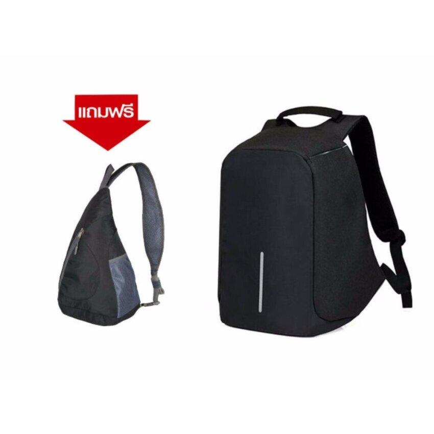 กระเป๋าเป้แลบทอปนิรภัยสีดำมีช่องใส่สายUSB+แถมกระเป๋าสะพายข้างแองเจิลA327สีดำ