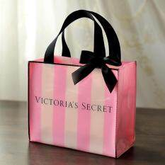Victoria's Secret Signature Striped PVC Shopping Gift Bag
