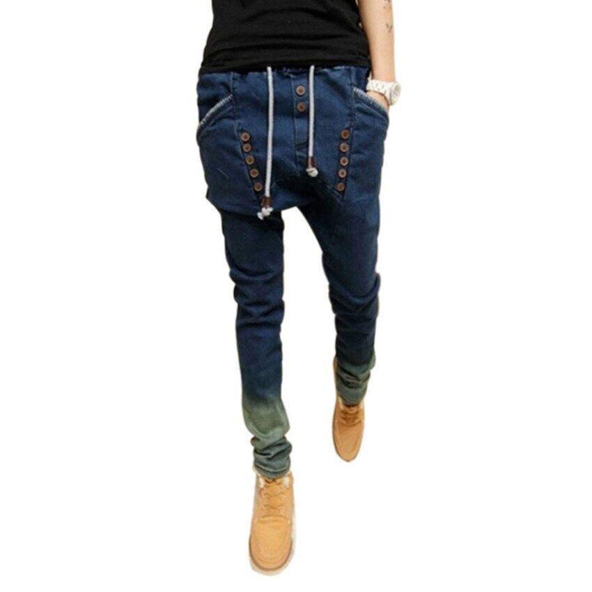 VR_Tech Pencil Baggy Jean Pant Trousers (Blue) - intl