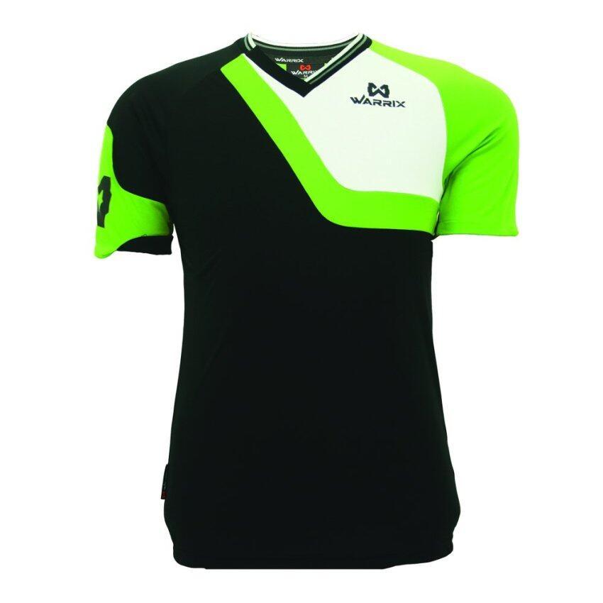 WARRIX SPORT เสื้อฟุตบอลพิมพ์ลาย WA-1504 สีดำ-เขียว