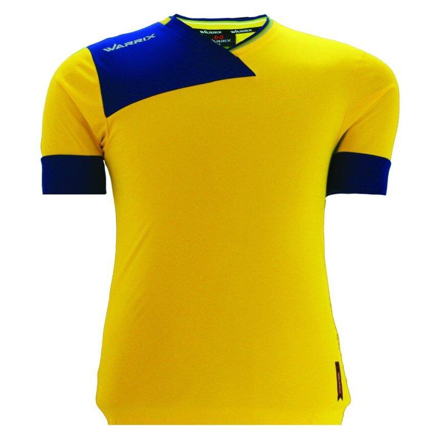 WARRIX SPORT เสื้อฟุตบอลพิมพ์ลาย WA-1512 สีเหลือง-น้ำเงิน