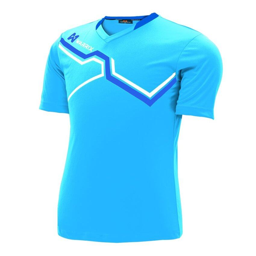 WARRIX SPORT เสื้อฟุตบอลพิมพ์ลาย WA-1516 สีฟ้า-น้ำเงิน · >>>>