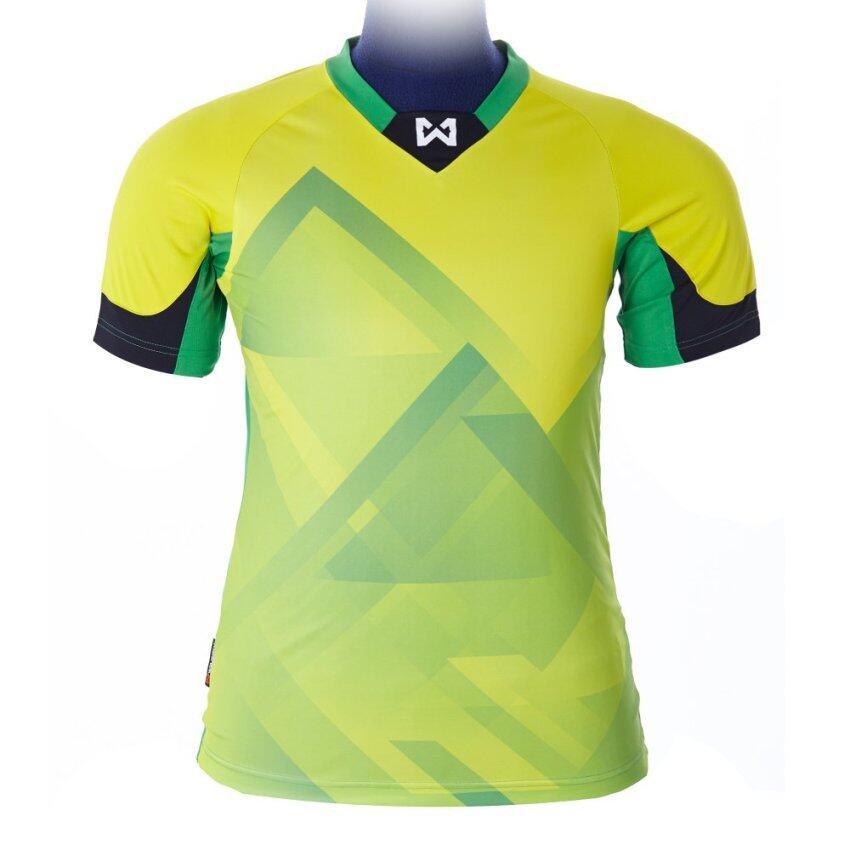 WARRIX SPORT เสื้อฟุตบอลพิมพ์ลาย WA-1522M ( สีเขียว-เหลือง )
