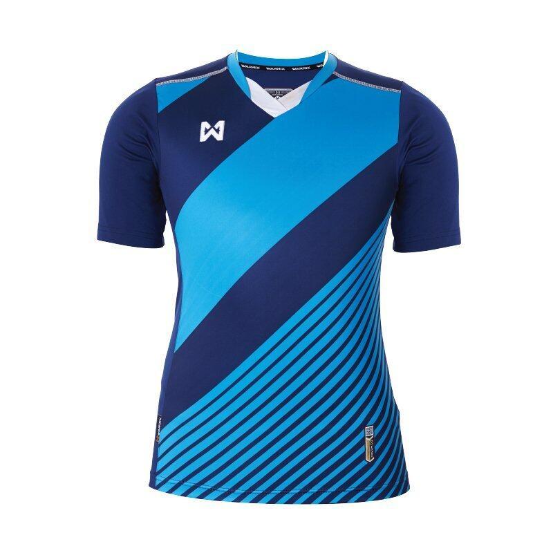 WARRIX SPORT เสื้อฟุตบอลพิมพ์ลาย WA-1523 ( สีกรมท่า-ฟ้า )