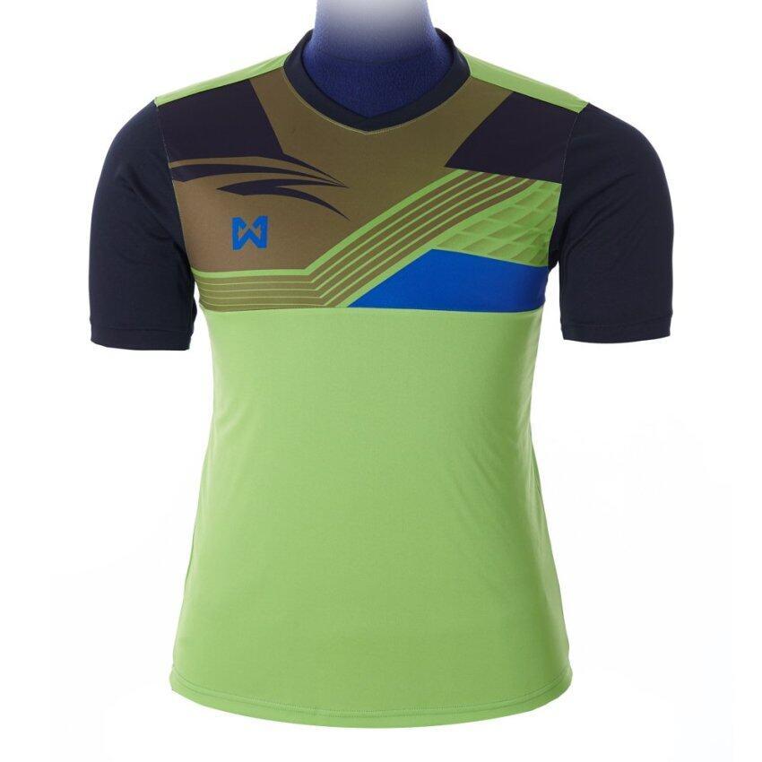 WARRIX SPORT เสื้อฟุตบอลพิมพ์ลาย WA-1524 ( สีเขียวตอง-ดำ )
