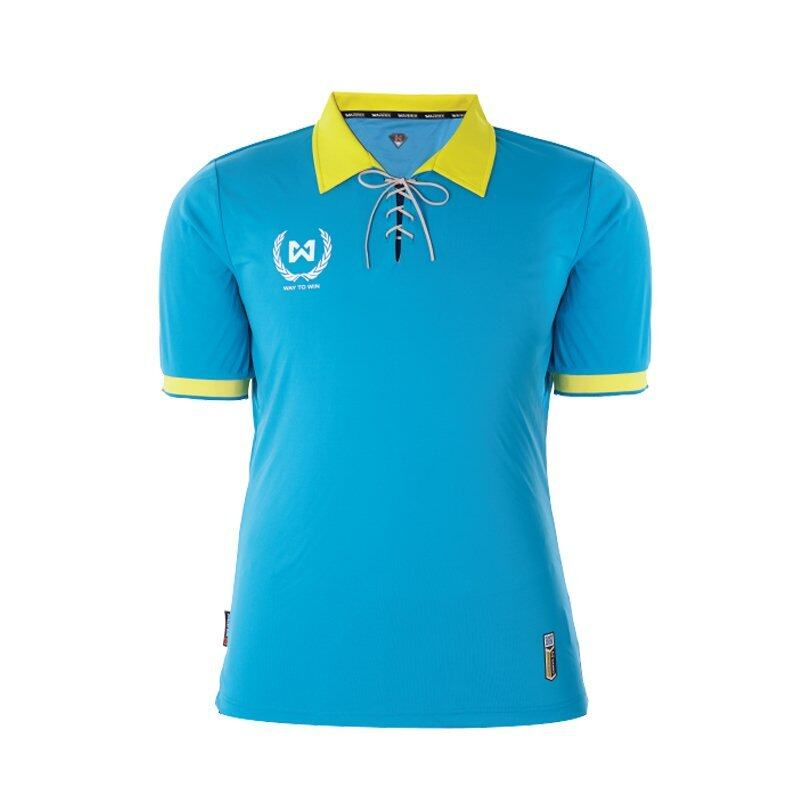 WARRIX SPORT เสื้อฟุตบอลพิมพ์ลาย WA-1528 ( สีฟ้า-เหลือง )