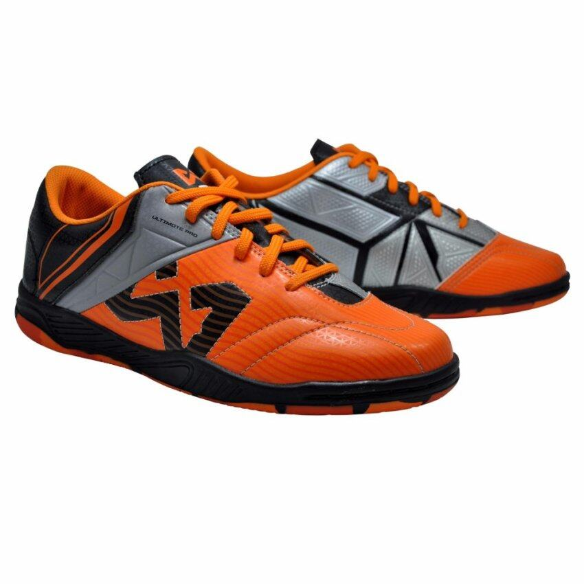 WARRIX SPORT รองเท้าฟุตซอลหนังแท้ WF-1409 (ส้ม-เทา)