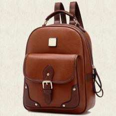 Wichu Bag กระเป๋าสะพายหลัง ผู้หญิง กระเป๋าแฟชั่น กระเป๋าเป้เกาหลี รุ่น LP-019 (สีน้ำตาล)