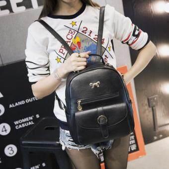 Wichu Bag กระเป๋าสะพายหลัง ผู้หญิง กระเป๋าแฟชั่น กระเป๋าเป้เกาหลี รุ่น LP-130 (สีดำ)