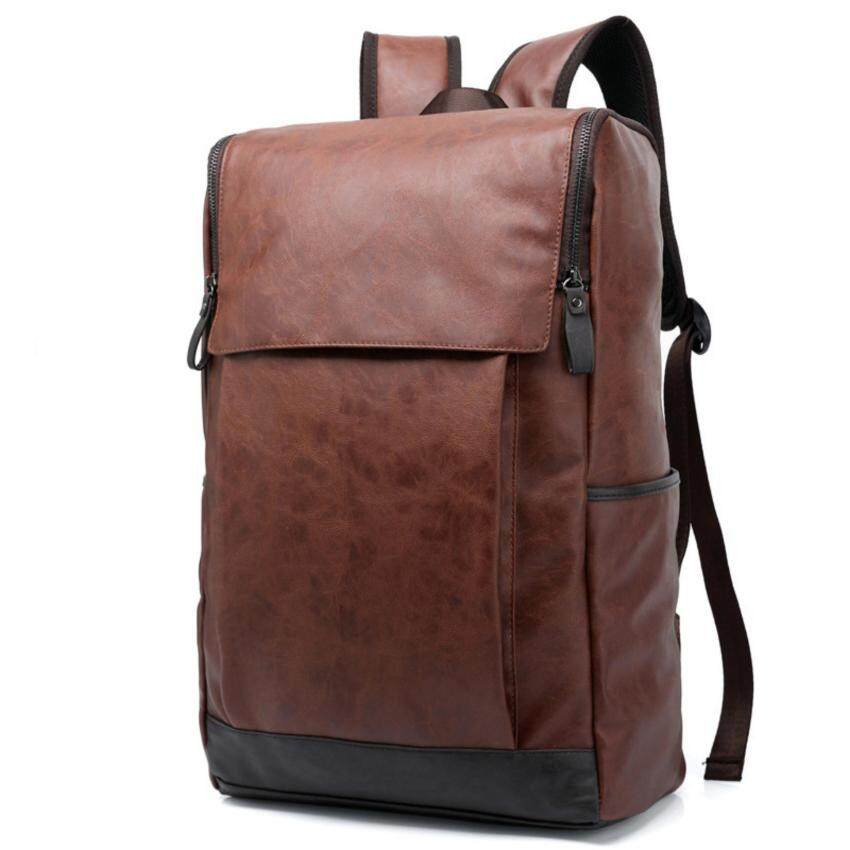 WIOZONE กระเป๋าสะพาย เป้ กระเป๋าหนัง กระเป๋าเดินทาง สะพายหลัง Notebook Backpack bag Premium สีดำ (Brown) E2