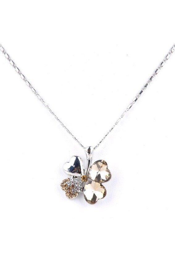 aaa Women Crystals Rhinestones Four Clover Pendant Neck (Champagne) Sbobet