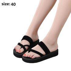 Women fashion Flip Flops flat beach shoes home slippers size:40(Black) - Intl