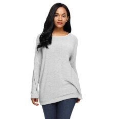 Women Knitted Sweater Backless Twist Pullover Jumper O-Neck Long Sleeve Casual Loose Knitwear Top - Intl ราคา 509 บาท(-15%)