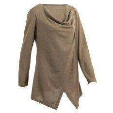 Women Knitwear Solid Color Asymmetric Draped Irregular Long Roll Up Sleeve Casual Tops Sweatershit - Intl ราคา 353 บาท(-18%)