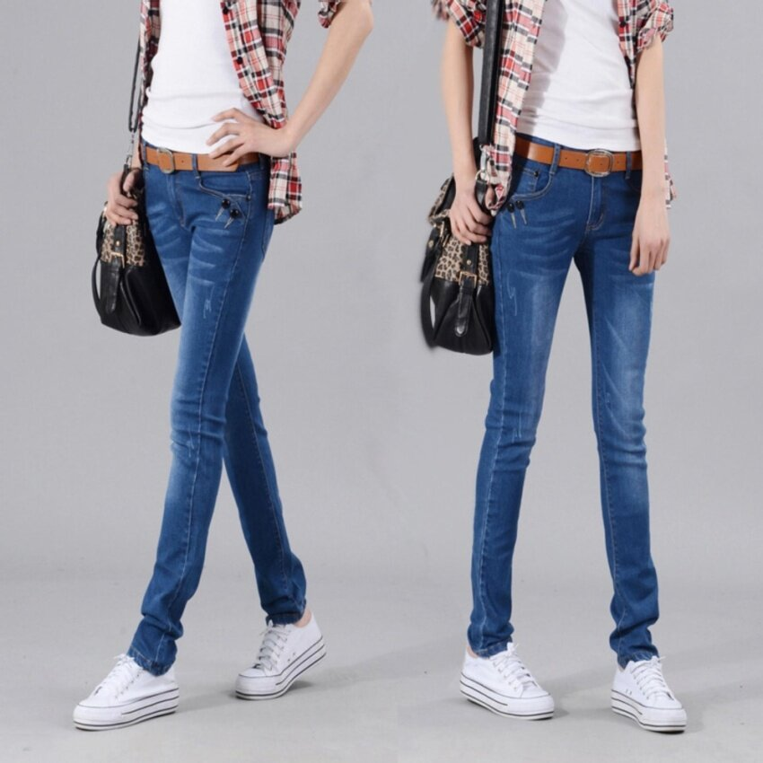 Women Korean Slim Skinny Jeans Small Feet Casual Denim Trousers Pants - intl