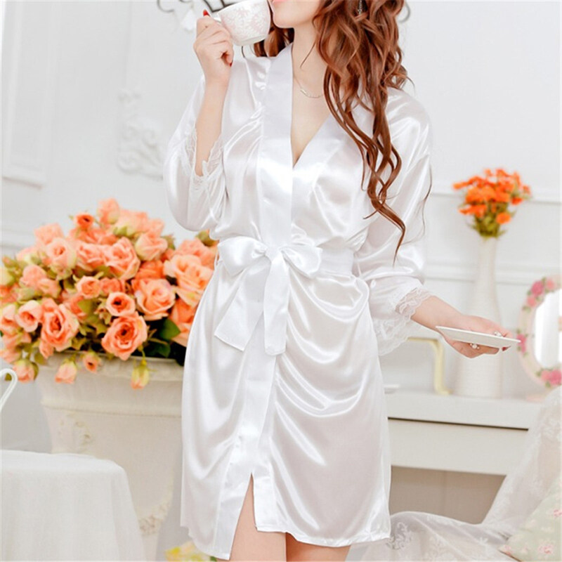 Women Sexy Faux Satin Lace Silk Underwear Lingerie Nightdress Sleepwear Robe White ...