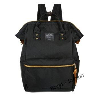 Wonderful Story Bingo Fashion กระเป๋าสะพายหลัง New Polyester Casual Backpack with Back Zip (Black)