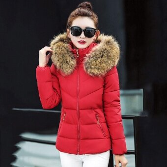 ZAFUL Padded Jacket Casual Style Long Sleeve Grenadine Stitching Bowknot Design Frost Free Quilted Pocket Stand Collar Hooded Zipper Front Women Padded Jacket Parkas (Red) - intl